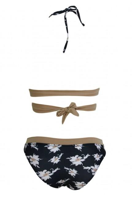 Бански костюм с шарка на цветя(B3041)