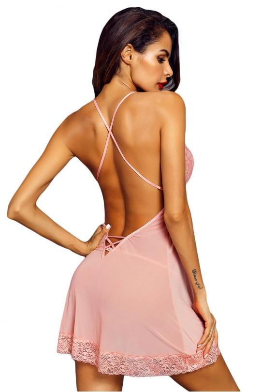 Изкушаваща дантелена нощничка в розово (SB1163)