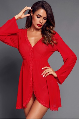 Червена секси нощничка с дълги ръкави (SB1164)