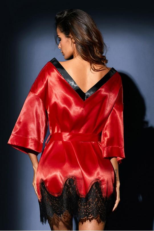 Червена секси нощничка с дантела и коланче (SB1165)