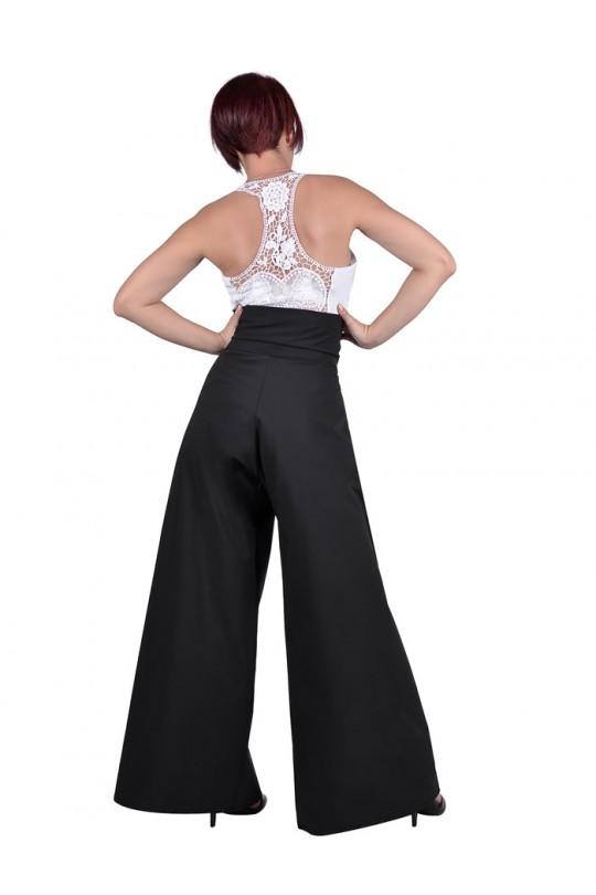Стилен широк панталон с висока талия и плохи (A304)