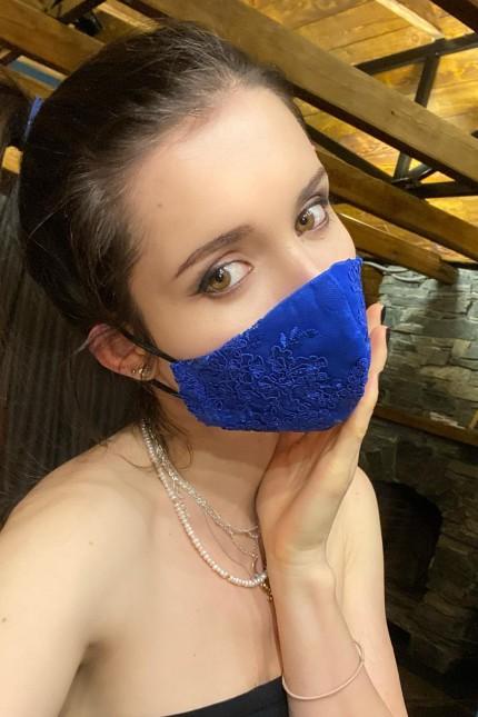 Дантелена маска в кралско синьо (M09)
