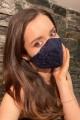 Дантелена предпазна маска за лице в тъмно синьо (M04)