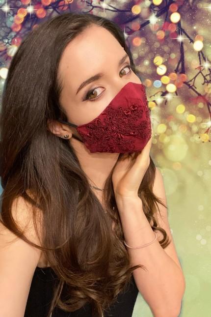 Дантелена предпазна маска за лице в бордо (M06)