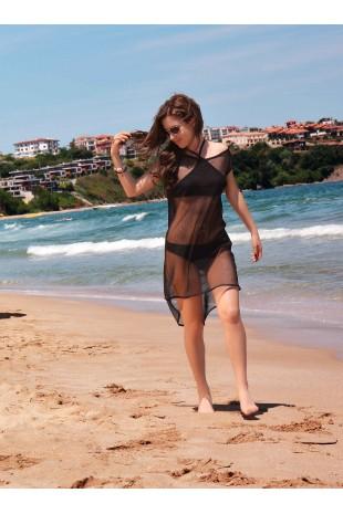 Мрежеста плажна туника в черно (P4609)