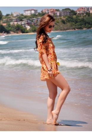 Възхитително дантелено плажно пончо с коланче (P4610)