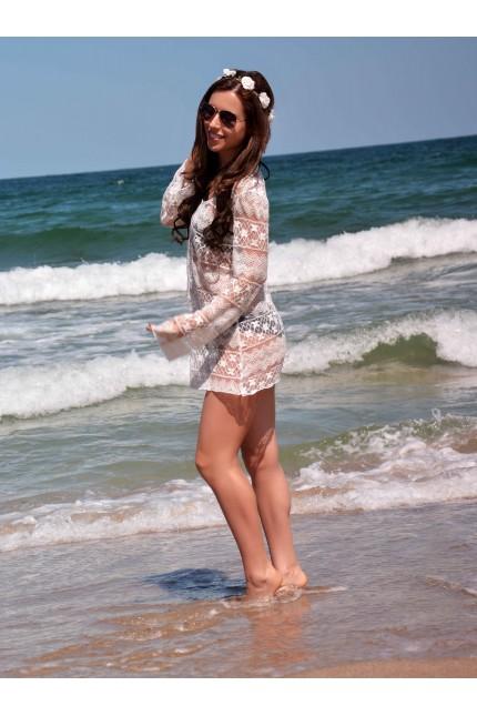 Секси бяла плажна туника с дълги ръкави (P4624)