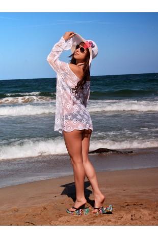 Туника за плаж от бяла дантела с широки ръкави (P4616)