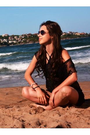 Туника за плаж с ефектно деколте в черно (P4617)