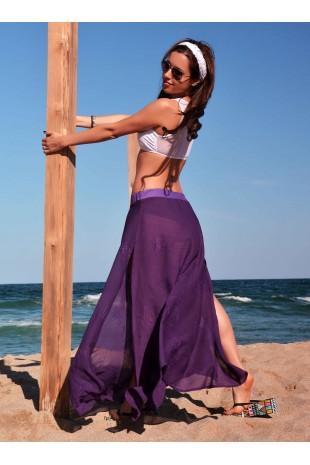 Плажна пола с дълги цепки в лилаво (P4618)