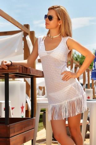 Бяла плажна туника с ефектни ресни(P4601)