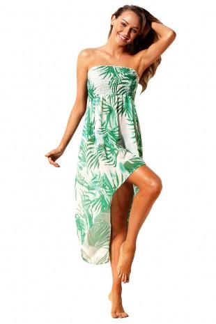 Красива плажна рокля в нежен зелено-бял принт (P4620)
