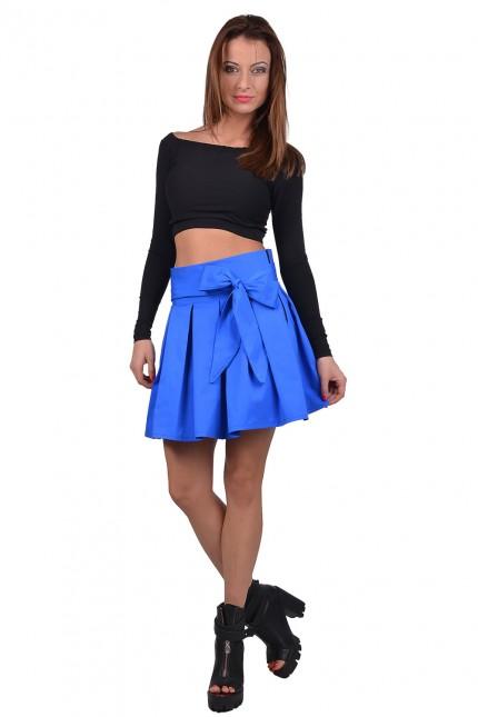 Изкусителна къса пола с плохи в синьо и секси коланче(P6017)