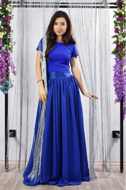 Красива дълга пола от шифон и сатен в синьо (P6019)