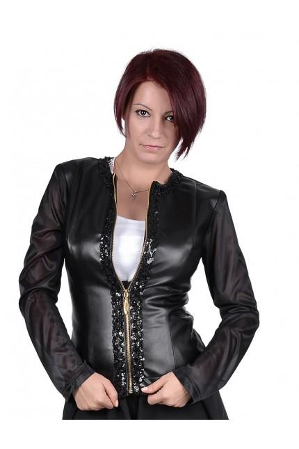 Уникално кожено яке с ширит от пайети и ефирни ръкави (Q8001)