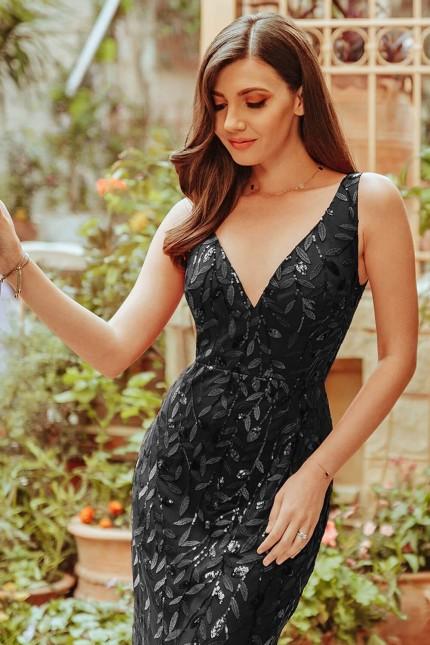 Грациозна официална дълга рокля тип русалка в черно (RO99236)