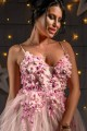 Прелестна бална рокля тип принцеса с тюлена пола в розово (RO99219)