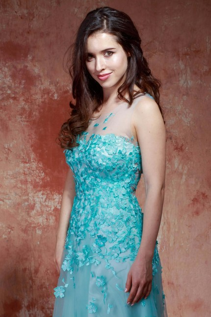 Възхитителна дантелена бална рокля в цвят мента (RO99224)
