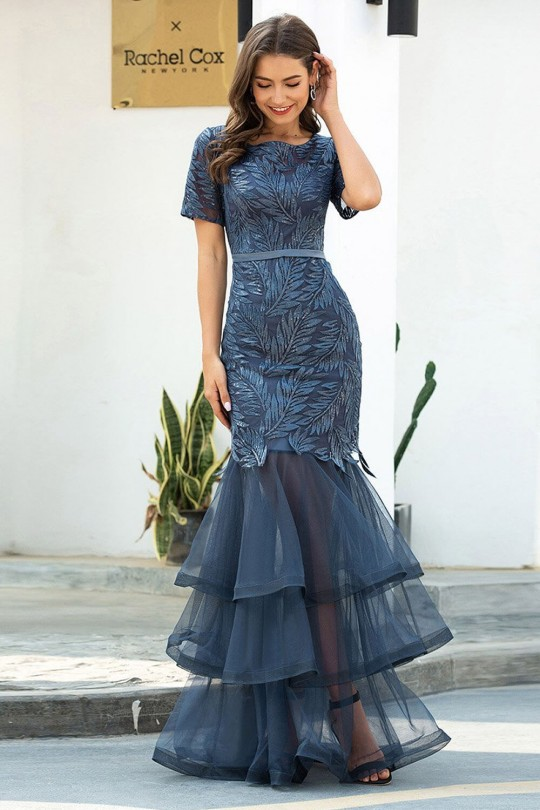 Възхитителна бална рокля тип русалка с троен воал и красива дантела (RO99214)
