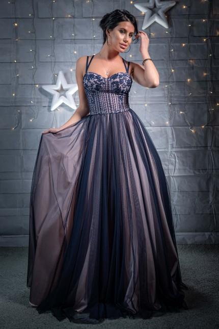 Уникална дълга бална рокля тип принцеса в тъмно синьо и розово (RO99221)