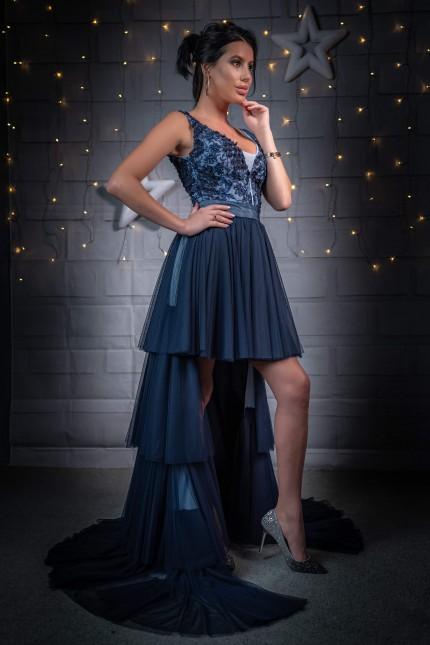 Очарователна асиметрична бална рокля с тюлена пола на етажи (RO99222)