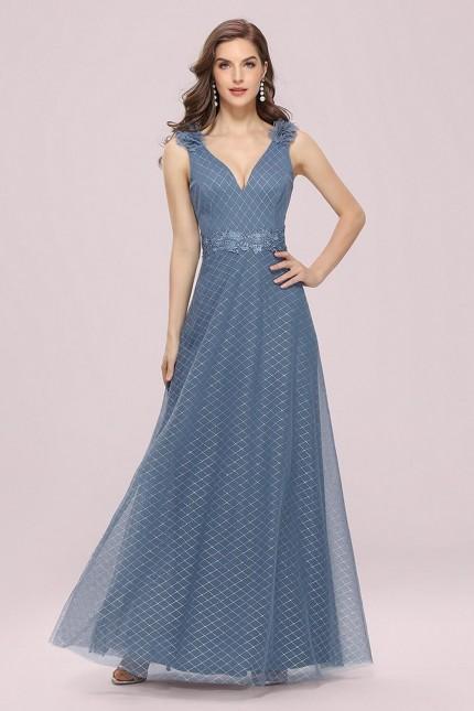Романтична дълга официална рокля с V-образно деколте (RO99253)