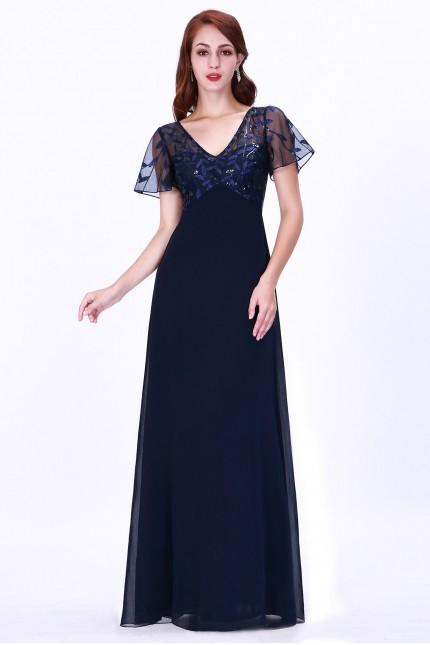 Елегантна тъмно синя официална рокля с нежна дантела (R9792)