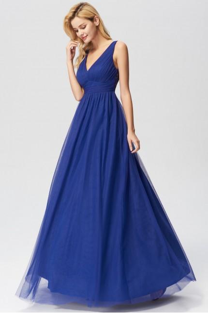 Красива бална рокля с V-образно деколте и дантелен гръб (R9800)