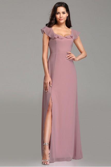 Нежна дълга официална рокля в бледо лилаво (R9803)