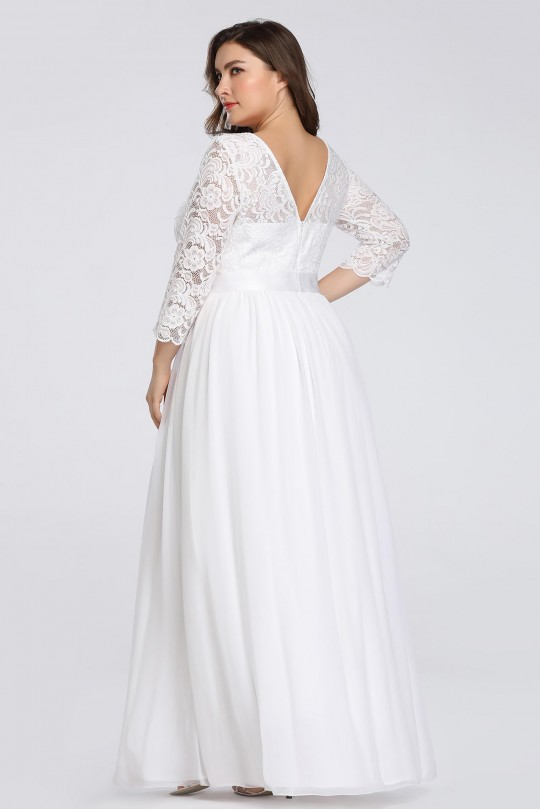 Дълга сватбена рокля с дантелена горна част и 3/4-ти ръкави (R9804)