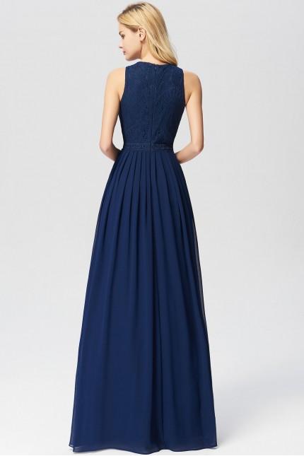 Бална рокля с мека дантела в тъмно синьо (R9817)