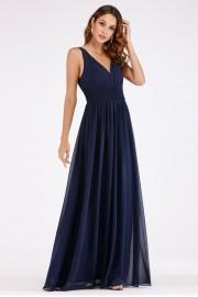 Стилна официална дълга рокля в тъмно синьо (R9825)