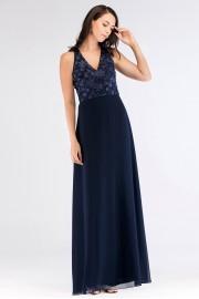 Дълга бална рокля с красива дантела в тъмно синьо (R9830)