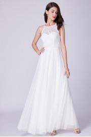 Бяла дълга официална рокля с лека тюлена пола (R9838)