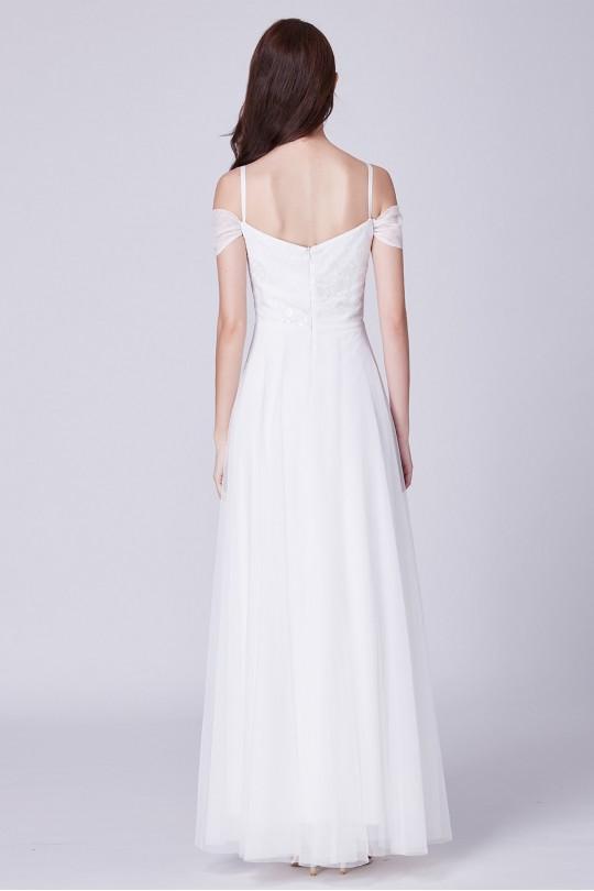 Елегантна бяла сватбена рокля с тънки презрамки и тюлена пола (R9846)