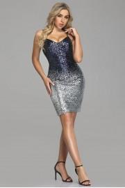 Къса бална рокля с красиви пайети (R9854)