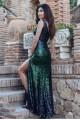 Дълга пайетена бална рокля в преливащи цветове (R9856)
