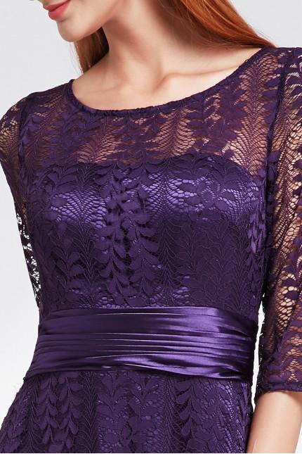 Дантелена официална рокля в тъмно лилаво (R9877)