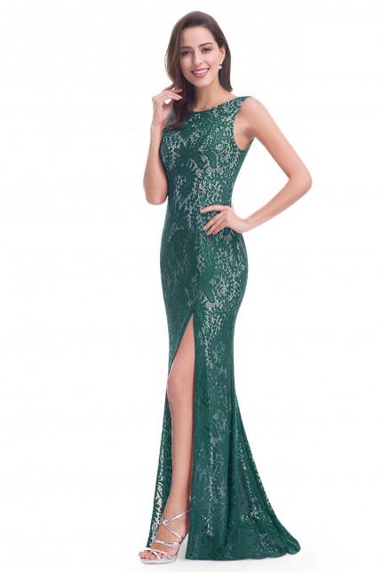 Дълга дантелена официална рокля в зелено с цепка (R9881)