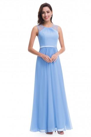 Стилна дълга официална рокля в светло синьо (R9888)