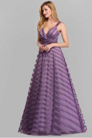 Уникална официална дълга рокля в лилаво (R99025)