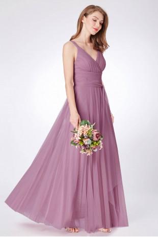Нежна официална рокля с широк колан в цвят пепел от рози (R99026)