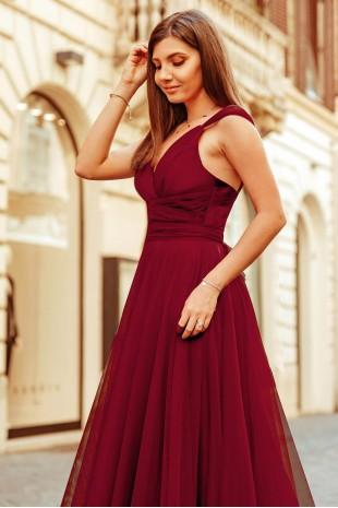 Нежна официална рокля с дълъг колан в цвят бордо (R99027)