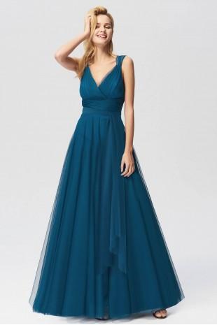 Нежна официална рокля с дълъг колан в тюркоазено зелено (R99028)