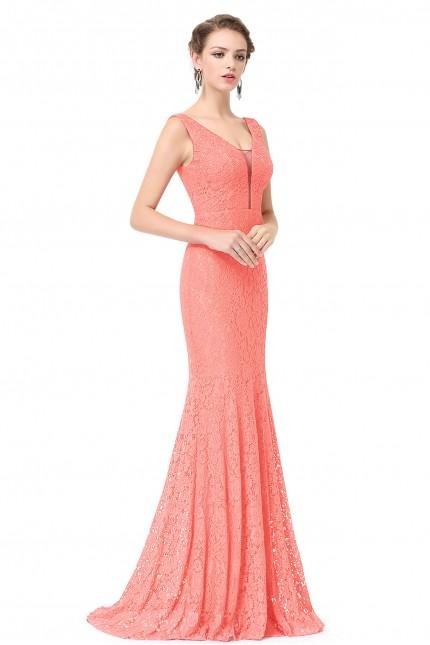 Разкошна дантелена официална рокля с красиво деколте (R9906)
