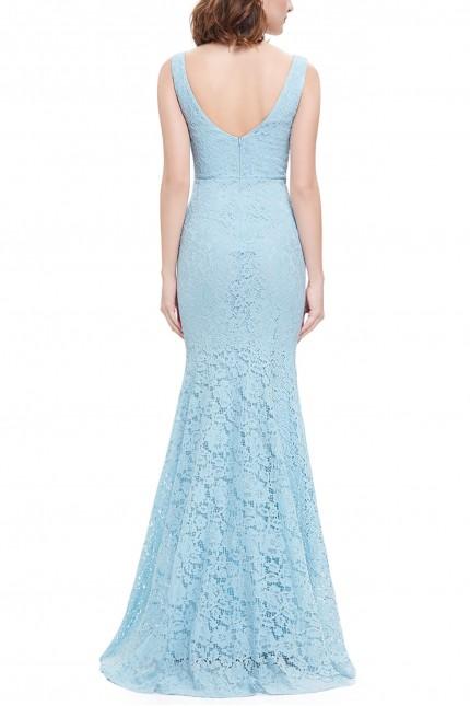 Разкошна дантелена официална рокля с красиво деколте в светло синьо (R9907)