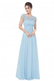 Прелестна официална бална рокля с красива дантела в светло синьо (R9909)