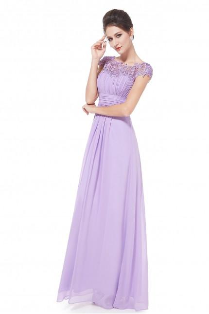 Прелестна официална бална рокля с красива дантела в светло лилаво (R9910)