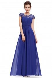 Прелестна официална бална рокля с красива дантела с кристали в синьо (R9911)