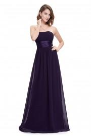 Очарователна официална рокля без презрамки в тъмно лилаво (R9918)